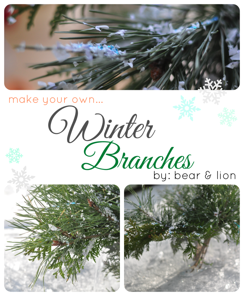 snowy branches, winter branches, christmas craft