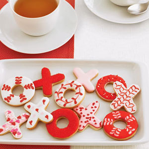 valentine's day treats, XO's, cookies, red and white