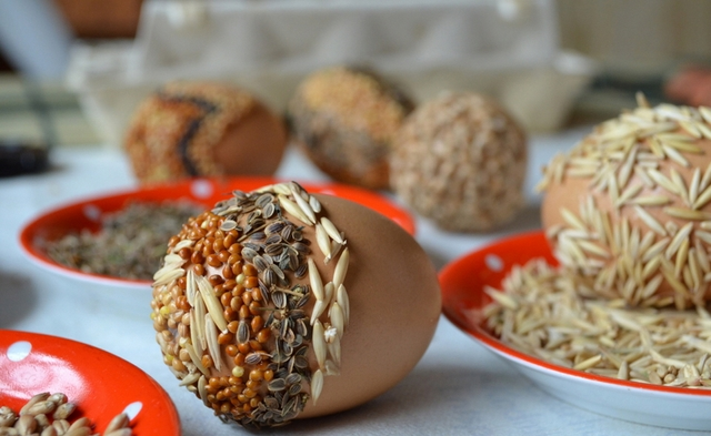 easter eggs, eggs decorated with seeds, easter