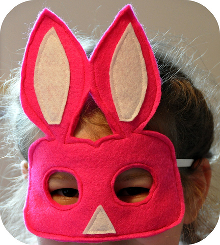 easter crafts, bunny mask, felt, sewing
