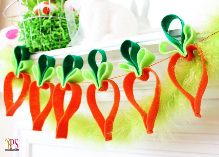 easter garland, sewing, carrots, felt
