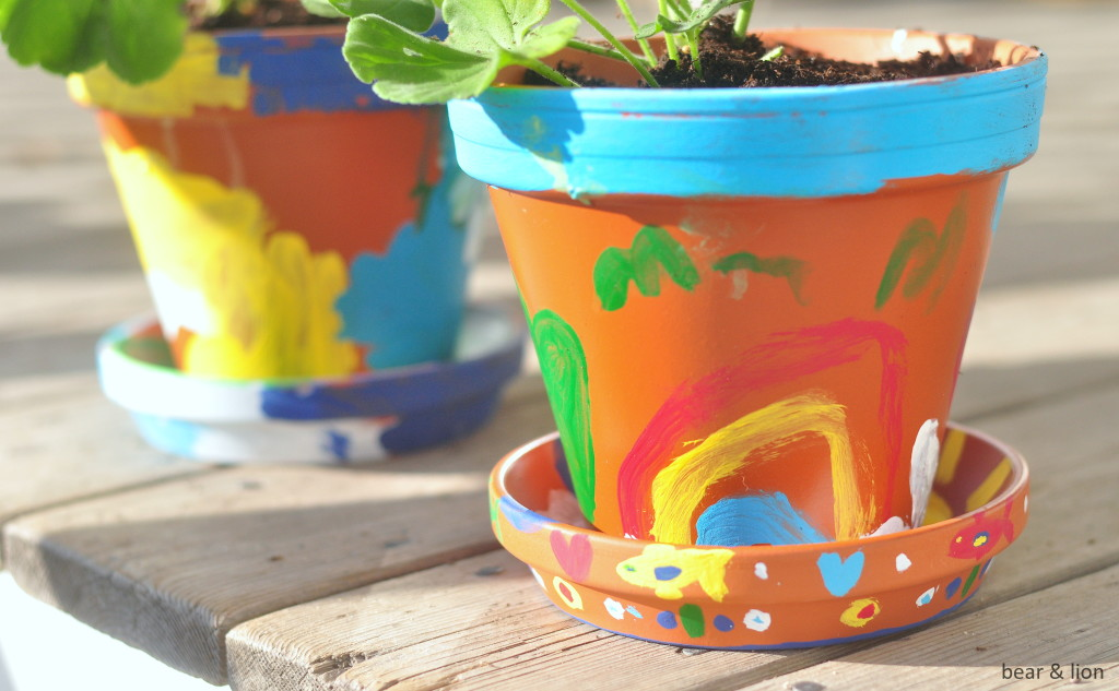 painted flower pots, mother's day, gift idea