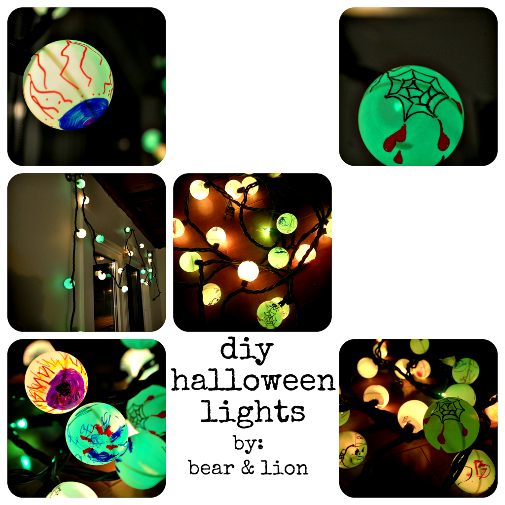 halloween lights, ping pong ball crafts, halloween