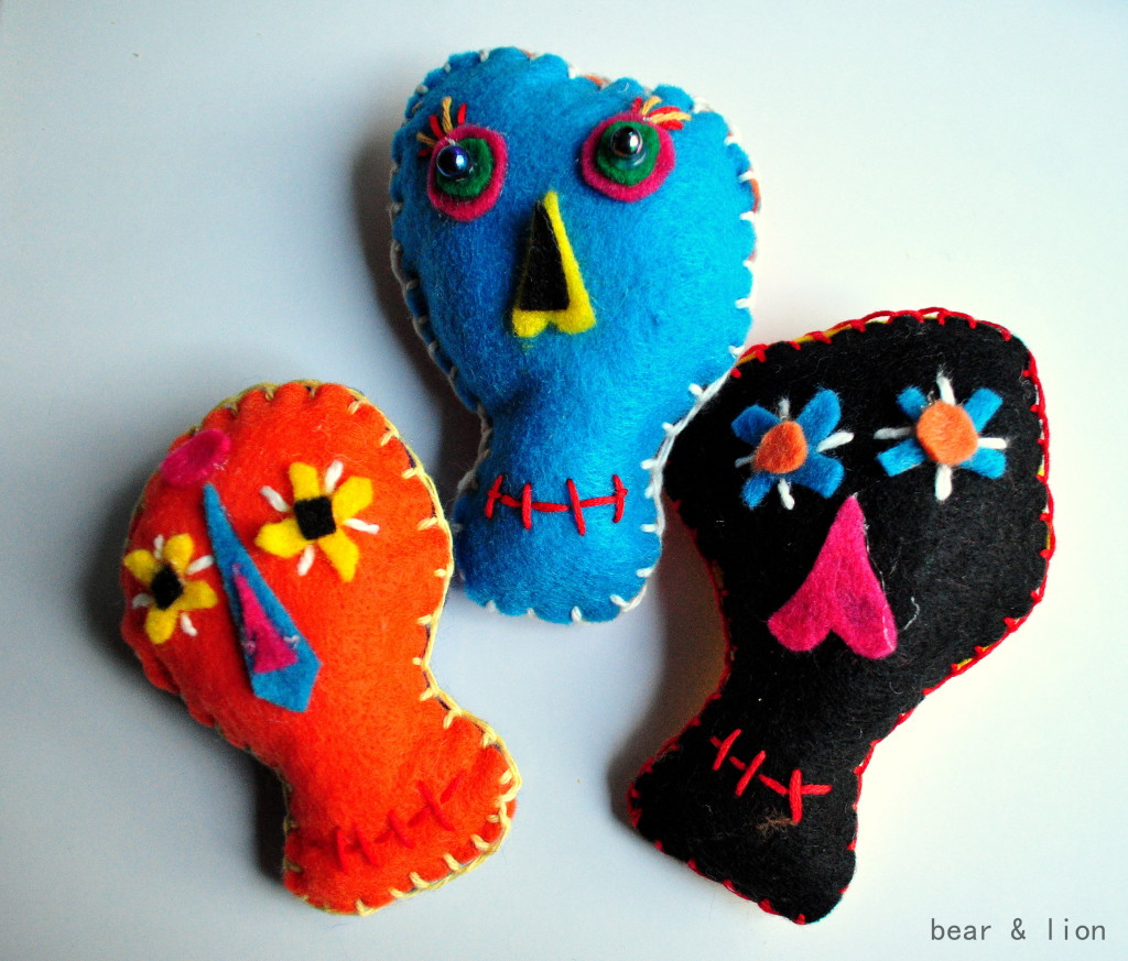 day of the dead, felt crafts, sugar skulls, halloween
