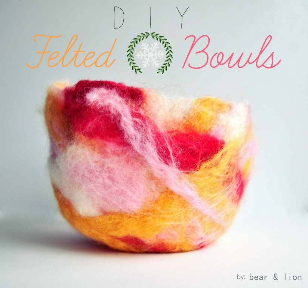felted bowls, DIY felt crafts, christmas crafts, roving wool crafts