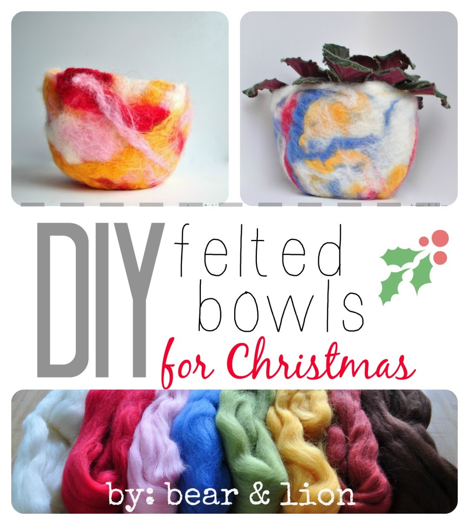 felted bowls, felt crafts, christmas crafts