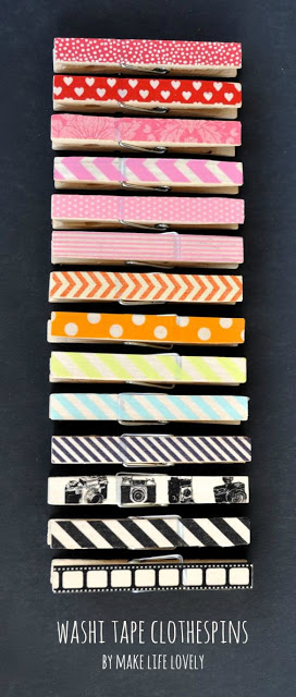 washi tape clothes pegs, washi tape projects