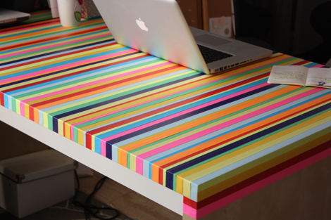 washi tape furniture, washi tape desk, washi tape table