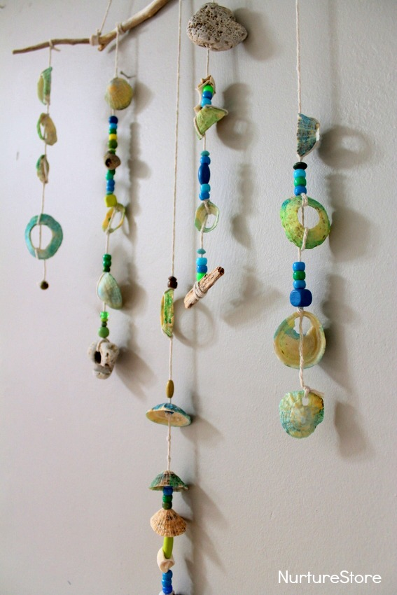 earth day crafts, shell mobile, kids eco crafts