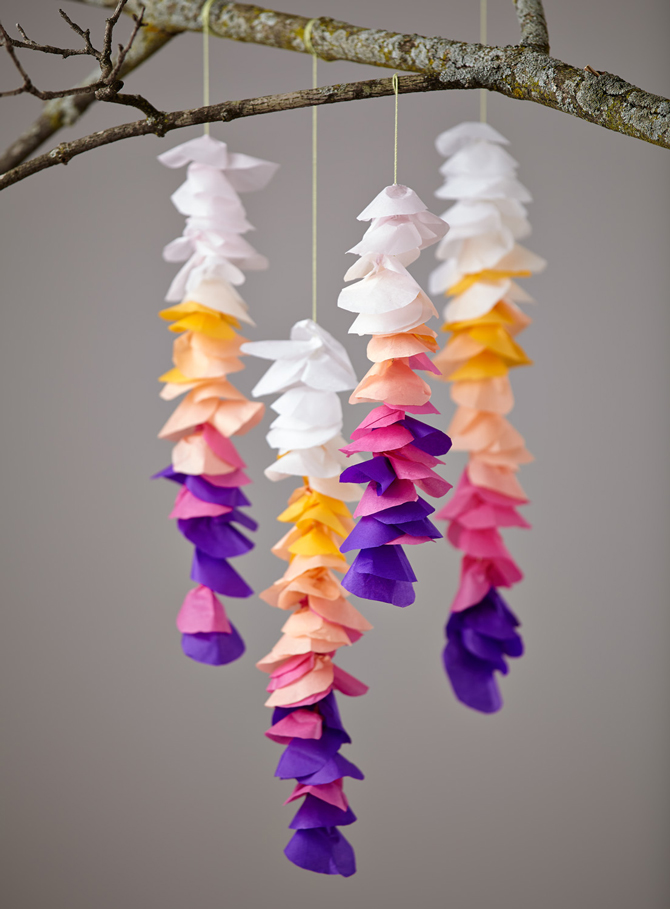 mother's day flowers craft, hanging wisteria