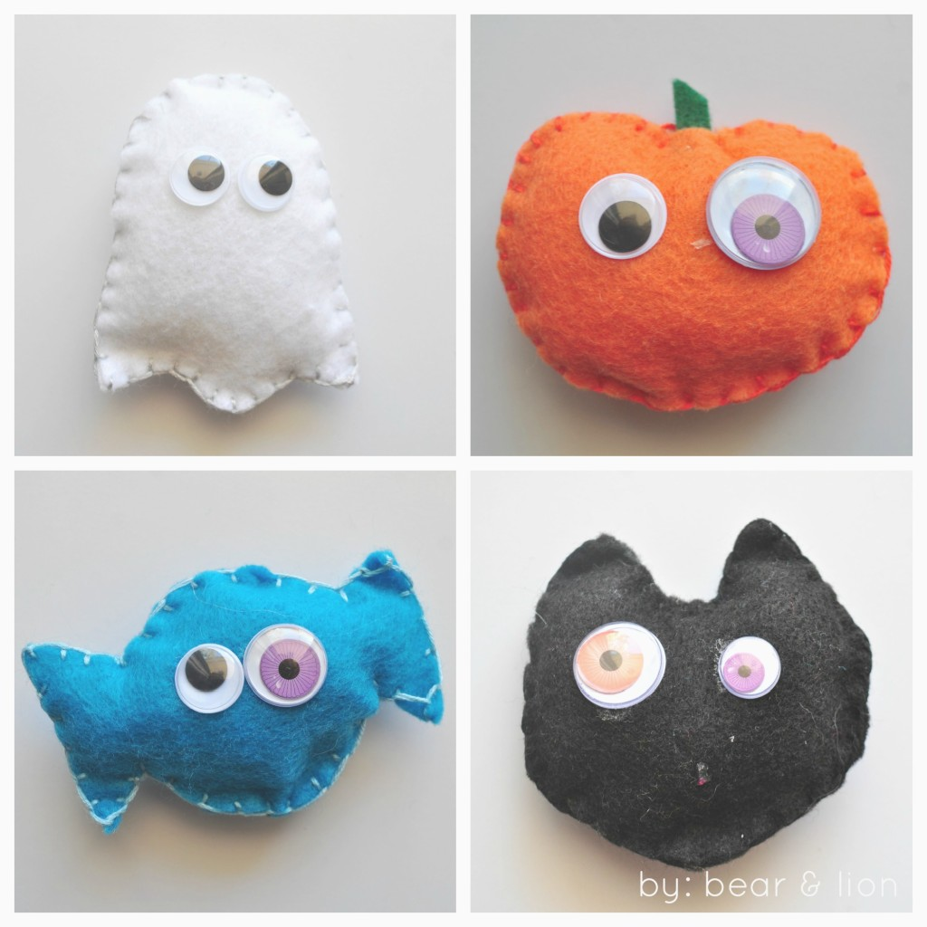 halloween crafts, googly eyed halloween decorations, felt crafts